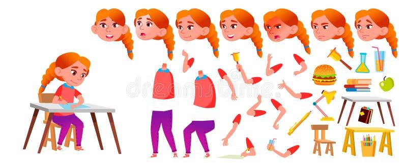 女孩女小学生孩子传染媒介 红头发人 高中孩子 动画创作集合 面孔情感,姿态 年轻,逗人喜爱 库存例证
