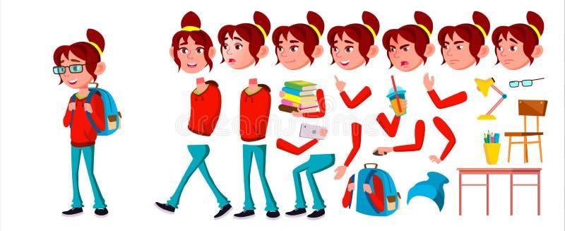 女孩女小学生孩子传染媒介 高中孩子 动画创作集合 情感,姿态 学校学生 表示 向量例证