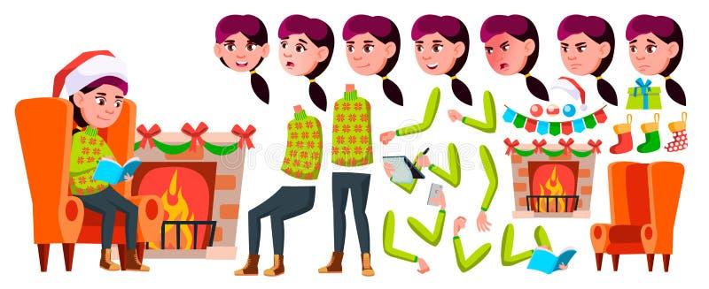 女孩女小学生孩子传染媒介 高中孩子 动画创作集合 面孔情感,姿态 儿童研究 微笑 皇族释放例证