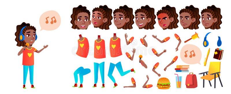 女孩女小学生孩子传染媒介 高中孩子 动画创作集合 面孔情感,姿态 投反对票 美国黑人 库存例证