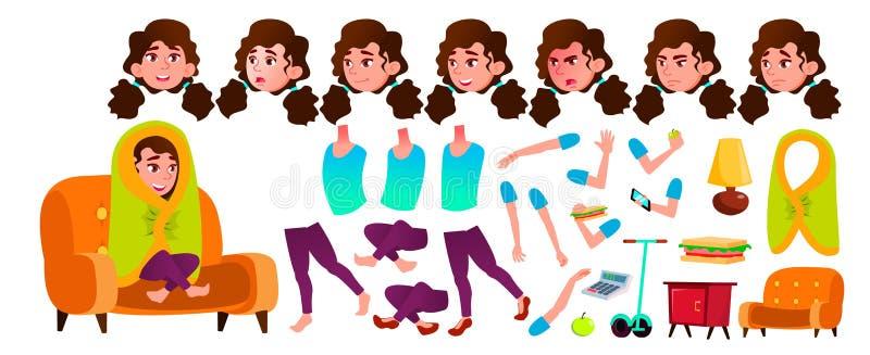 女孩女小学生孩子传染媒介 高中孩子 动画创作集合 面孔情感,姿态 教,教育 皇族释放例证