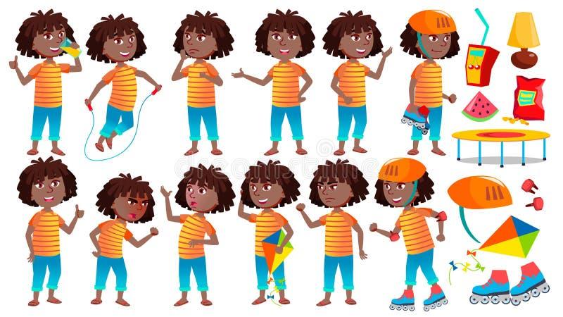 女孩女小学生孩子姿势被设置的传染媒介 投反对票 美国黑人 高中孩子 儿童学生 激活,喜悦,休闲 为 皇族释放例证