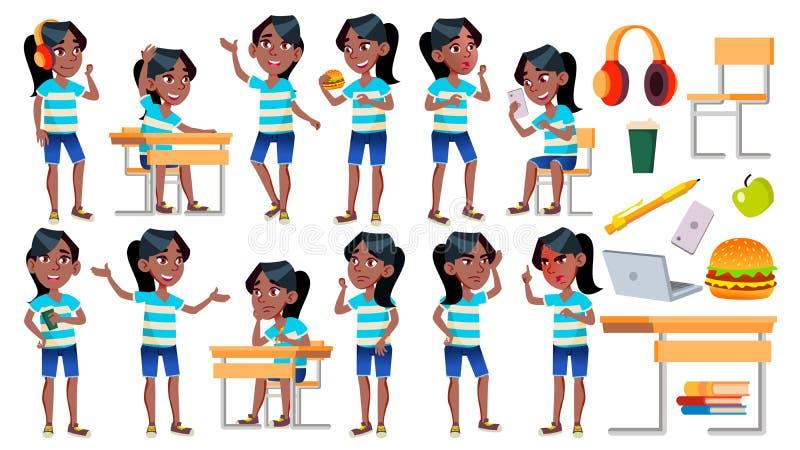女孩女小学生孩子姿势被设置的传染媒介 投反对票 美国黑人 高中孩子 儿童研究 知识,学会,教训 向量例证