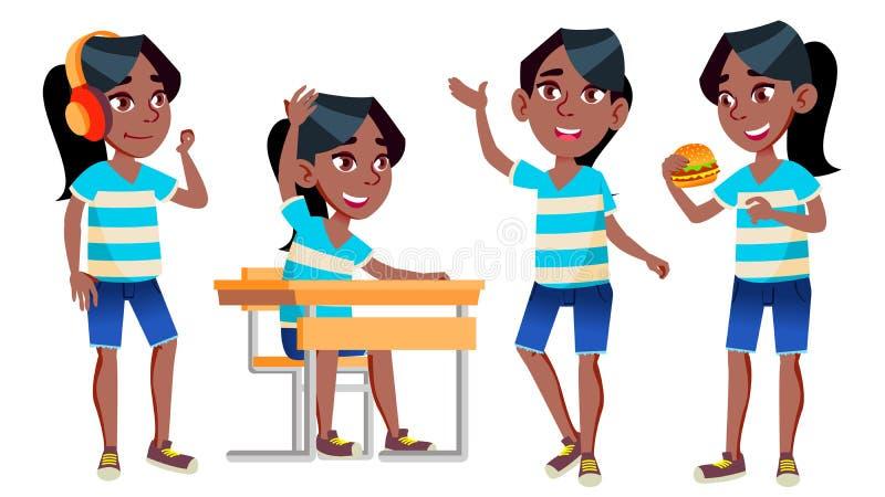 女孩女小学生孩子姿势被设置的传染媒介 投反对票 美国黑人 高中孩子 学童 9月,学童 皇族释放例证
