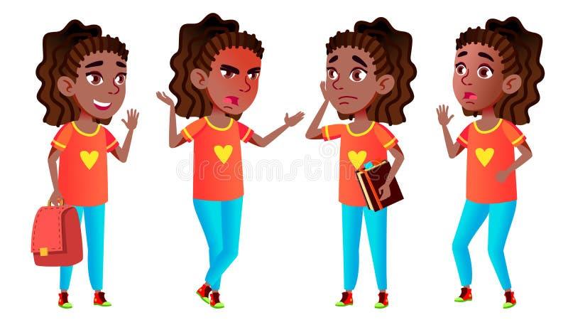 女孩女小学生孩子姿势被设置的传染媒介 投反对票 美国黑人 高中孩子 少年 秀丽,生活方式,友好 为 向量例证