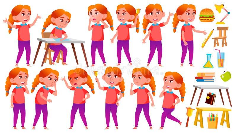 女孩女小学生孩子姿势被设置的传染媒介 红头发人 高中孩子 学校学生 欢呼,俏丽,青年时期 为 库存例证
