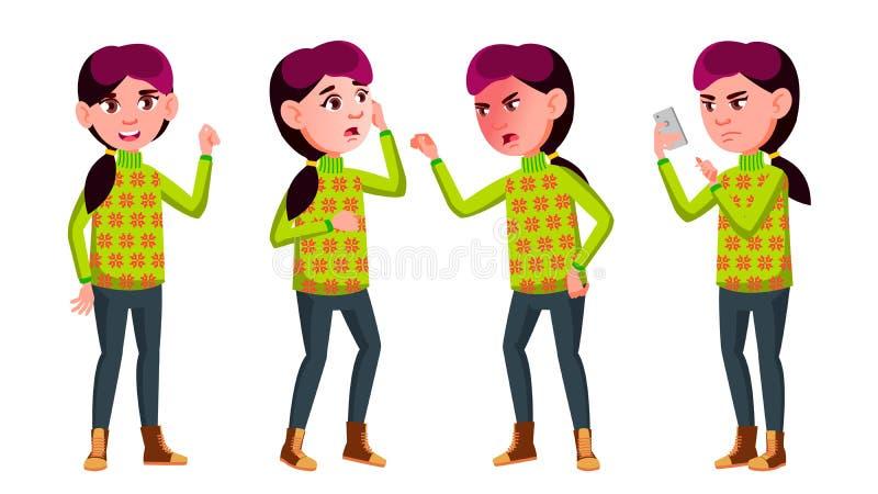 女孩女小学生孩子姿势被设置的传染媒介 高中孩子 中等教育 年轻,逗人喜爱,可笑 对卡片 皇族释放例证