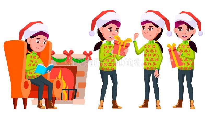 女孩女小学生孩子姿势被设置的传染媒介 高中孩子 高中 青年人,面孔,快乐 对做广告 向量例证