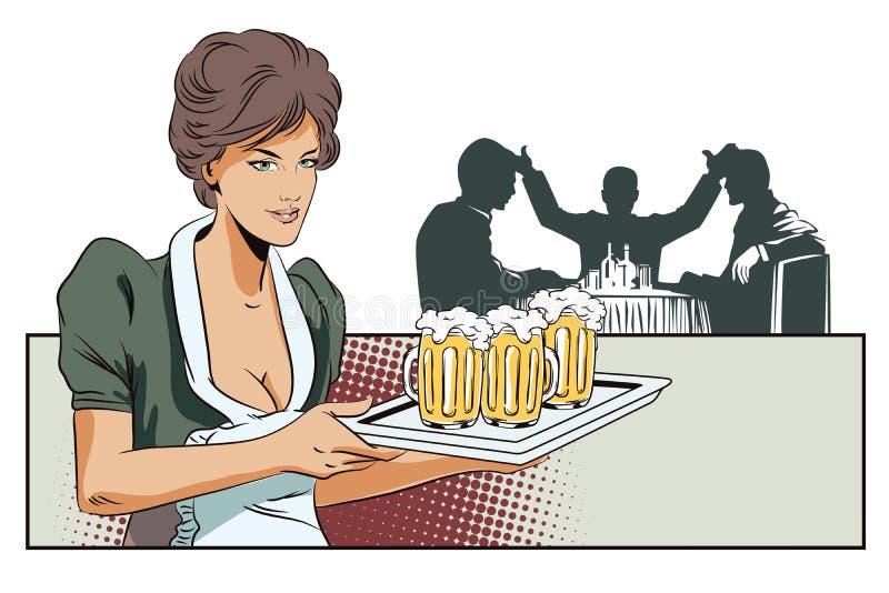 女孩女服务员用啤酒 现出轮廓其他人民 皇族释放例证