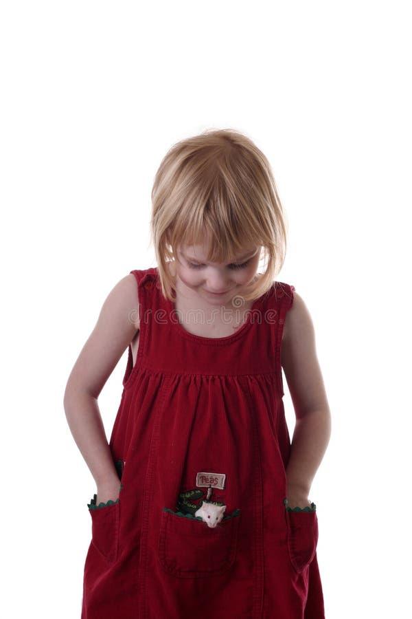 女孩她的鼠标矿穴 免版税库存图片