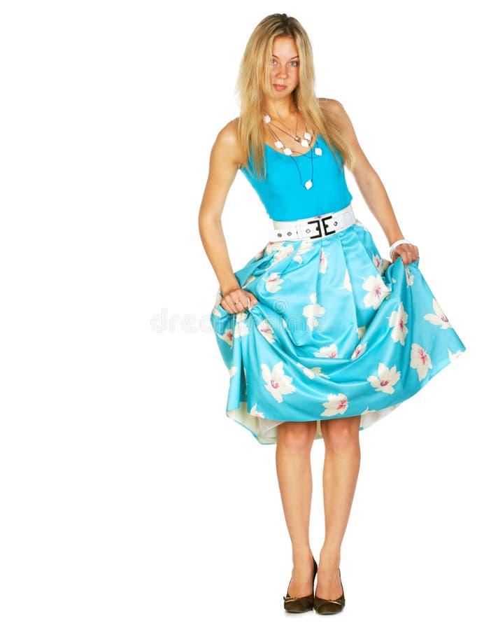 女孩她的pinup被拉的裙子  库存图片
