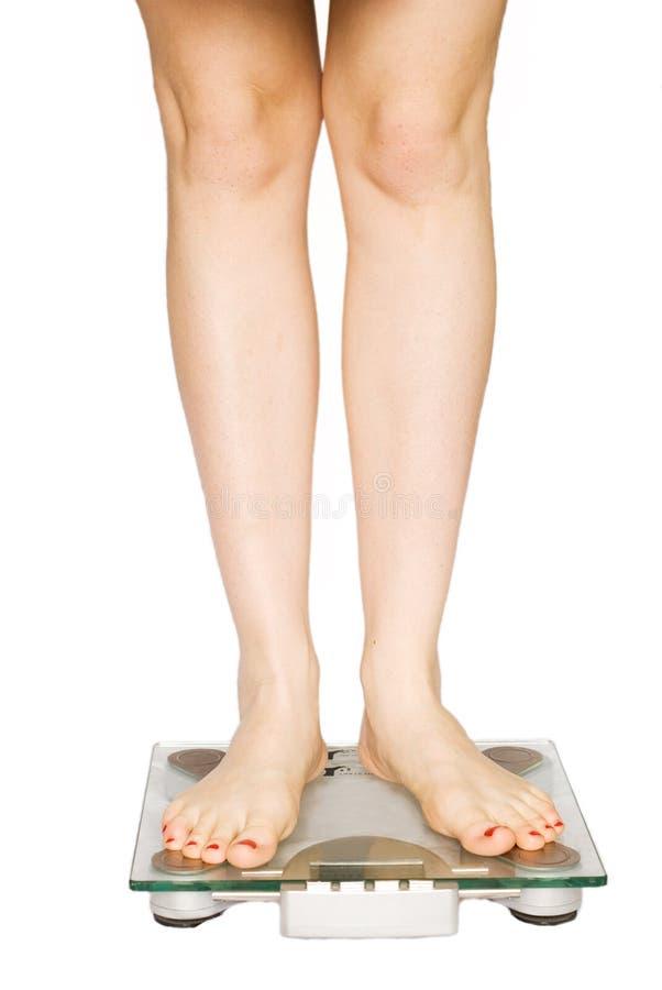 女孩她评定的重量 免版税库存照片
