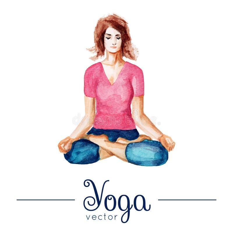 女孩姿势瑜伽 与水彩纹理的例证 向量例证