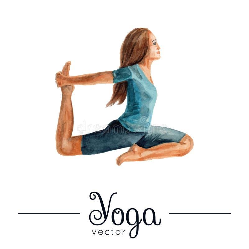 女孩姿势瑜伽 与水彩纹理的例证 皇族释放例证