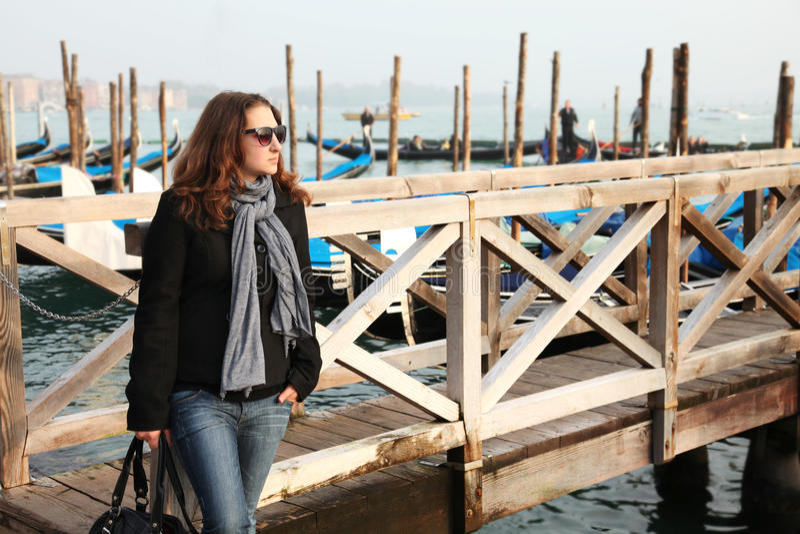 女孩威尼斯年轻人 库存照片