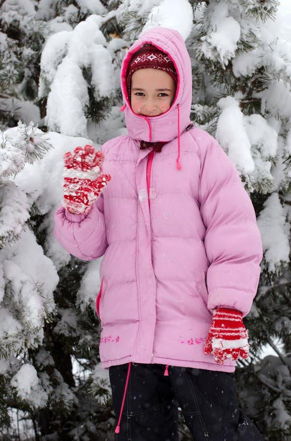 女孩子项在冬天 免版税图库摄影