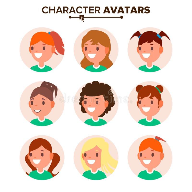 女孩字符具体化集合传染媒介 妇女面孔,情感 缺省女性具体化占位符收藏 动画片,可笑 向量例证