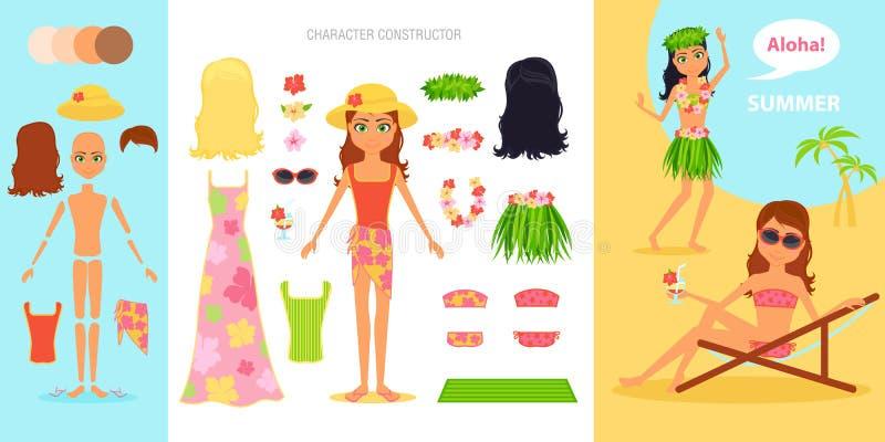 女孩字符创作集合 动画片传染媒介平的infographic例证旅行 泳装的妇女在一个热带海滩 节假日 向量例证