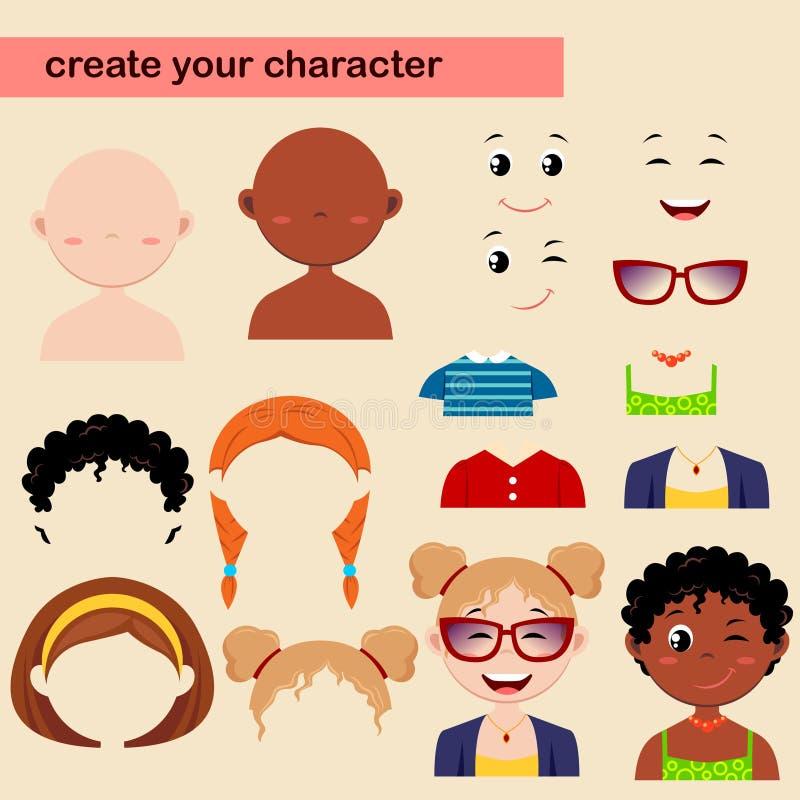 女孩字符建设者  创造您的具体化 向量例证