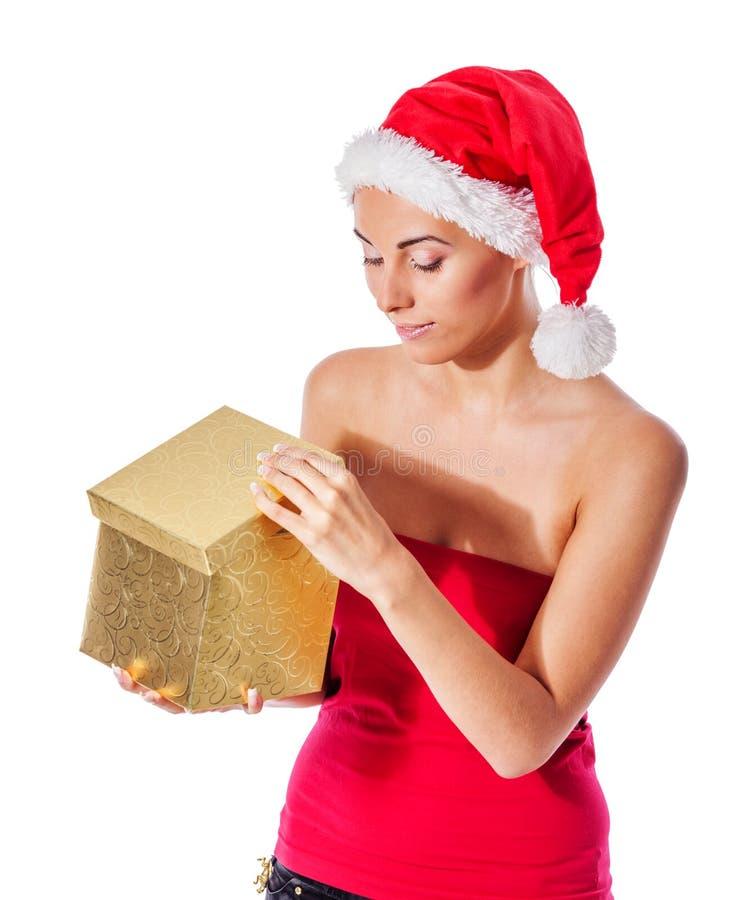 女孩存在圣诞老人 免版税库存照片