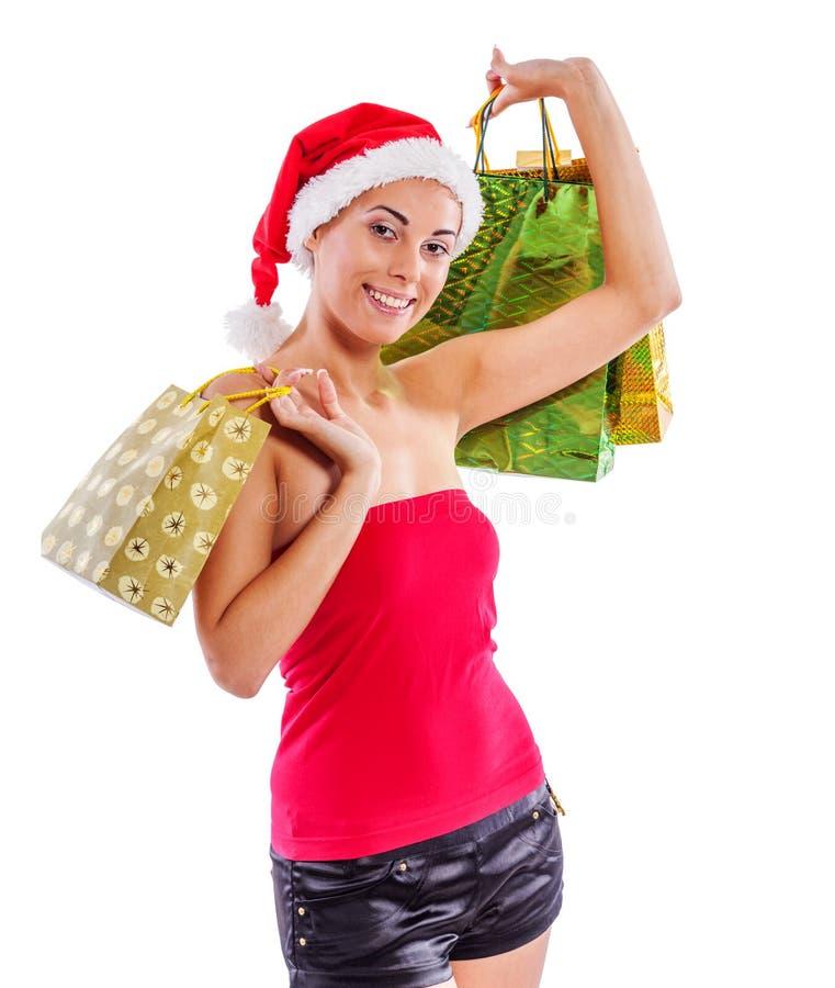 女孩存在圣诞老人 免版税库存图片