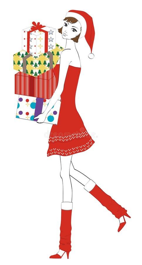 女孩存在圣诞老人 向量例证