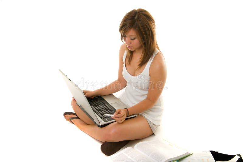 女孩学习 免版税图库摄影