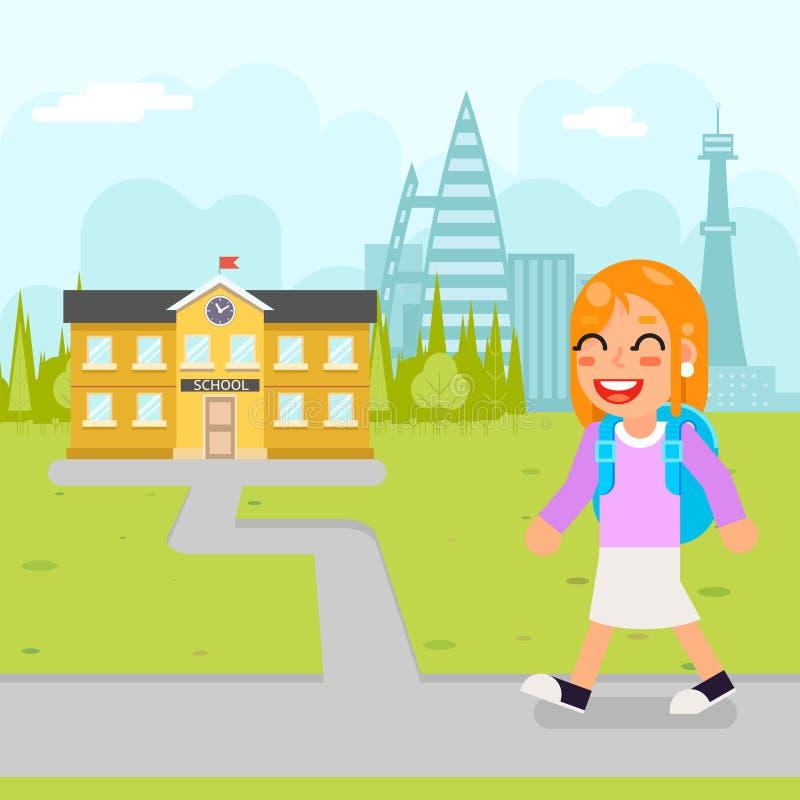 女孩学校孩子学生教育大厦学生知识儿童平的设计传染媒介例证 库存例证