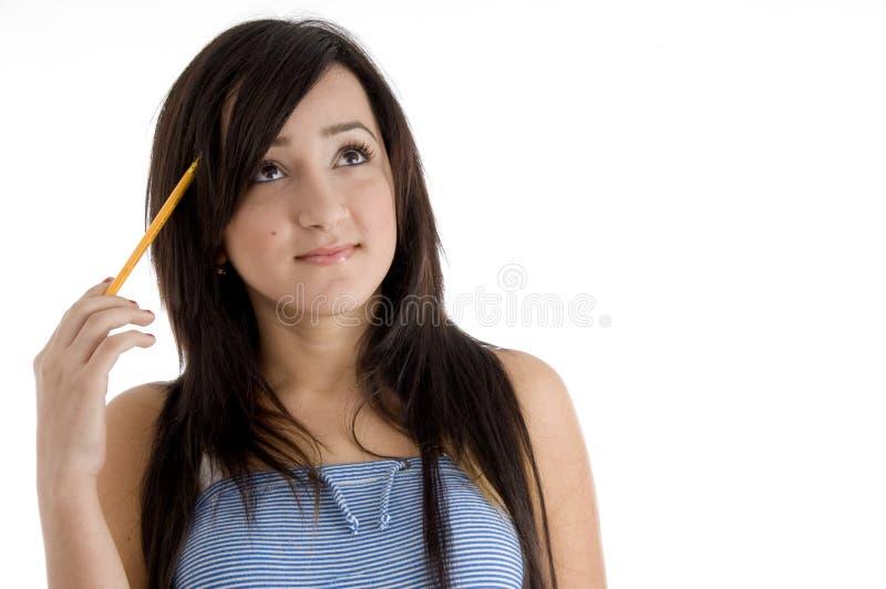女孩学校认为 免版税图库摄影