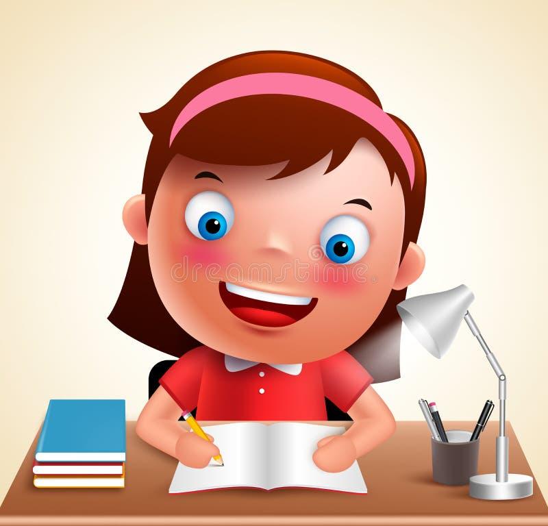 女孩孩子传染媒介字符愉快学习在做学校家庭作业的书桌 库存例证