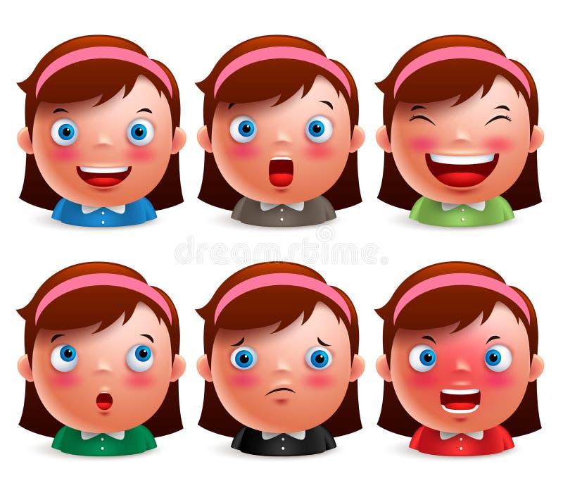 女孩孩子具体化表情设置了逗人喜爱的意思号头 向量例证