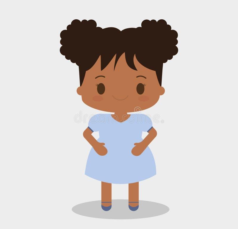 女孩孩子动画片设计 库存例证