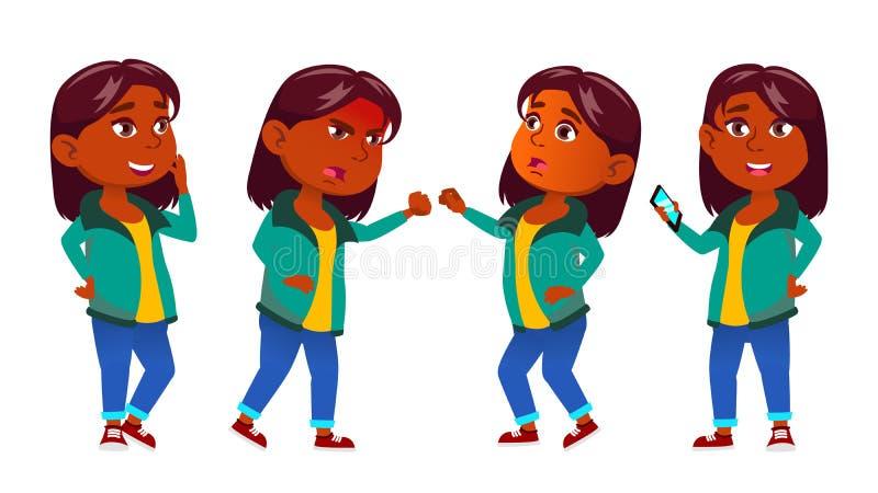 女孩孩子摆在集合传染媒介 印地安人,印度 亚洲 小学生 教育 年轻,逗人喜爱,可笑 对介绍,印刷品 向量例证