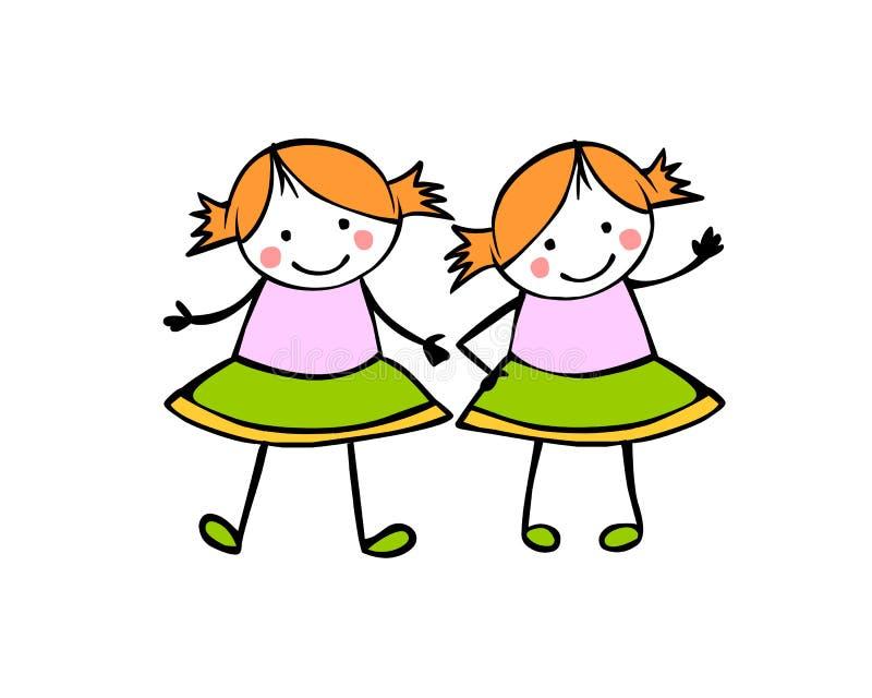 女孩孪生 姐妹 儿童` s样式的平的人