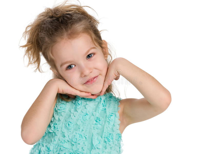 女孩害羞的一点 免版税库存图片