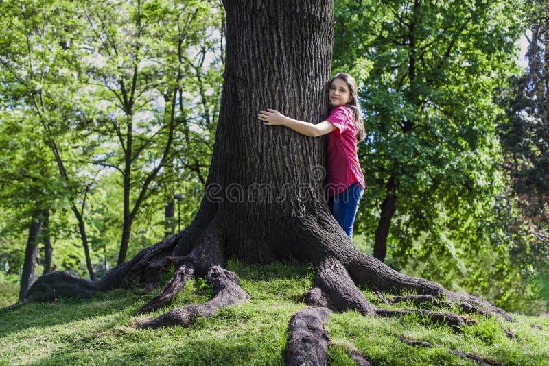 女孩容忍树 库存照片