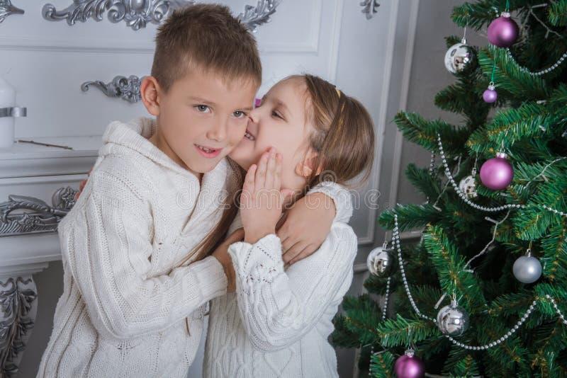 女孩对她的兄弟耳语请求什么圣诞老人 图库摄影