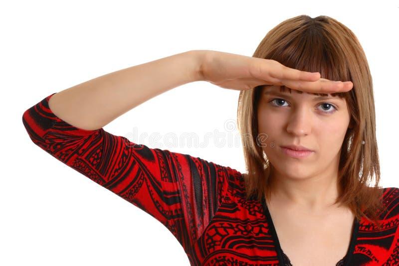女孩对等某事 免版税库存图片