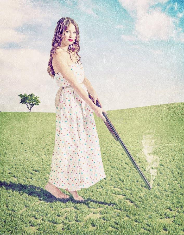 女孩射击 免版税库存图片