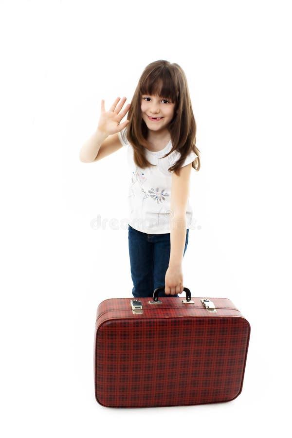 女孩小旅行家 免版税图库摄影