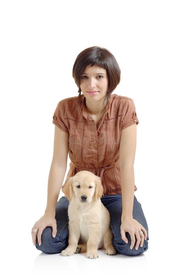女孩小狗猎犬 免版税库存图片