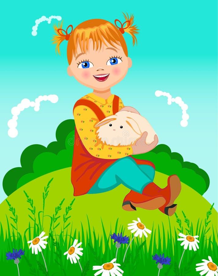 女孩小的兔子 皇族释放例证