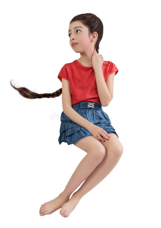 女孩小的猪尾 免版税库存图片