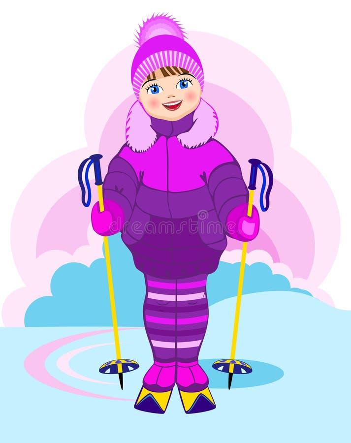 女孩小的滑雪 库存例证
