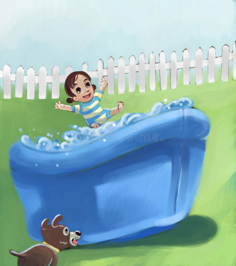 女孩少许池 向量例证