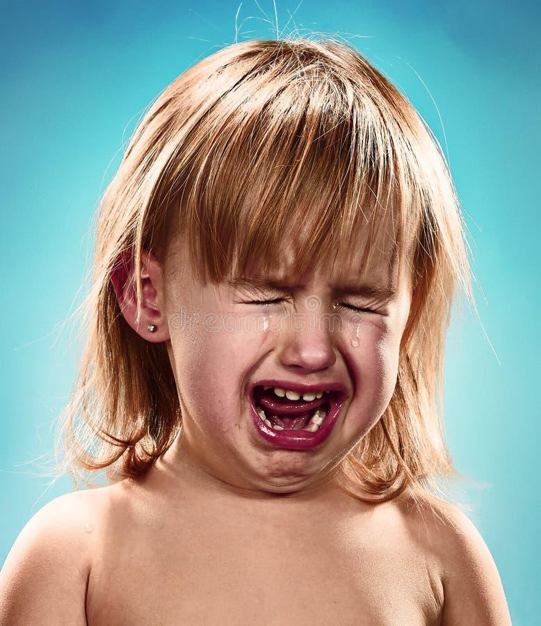 女孩少许纵向 她哭泣 库存图片
