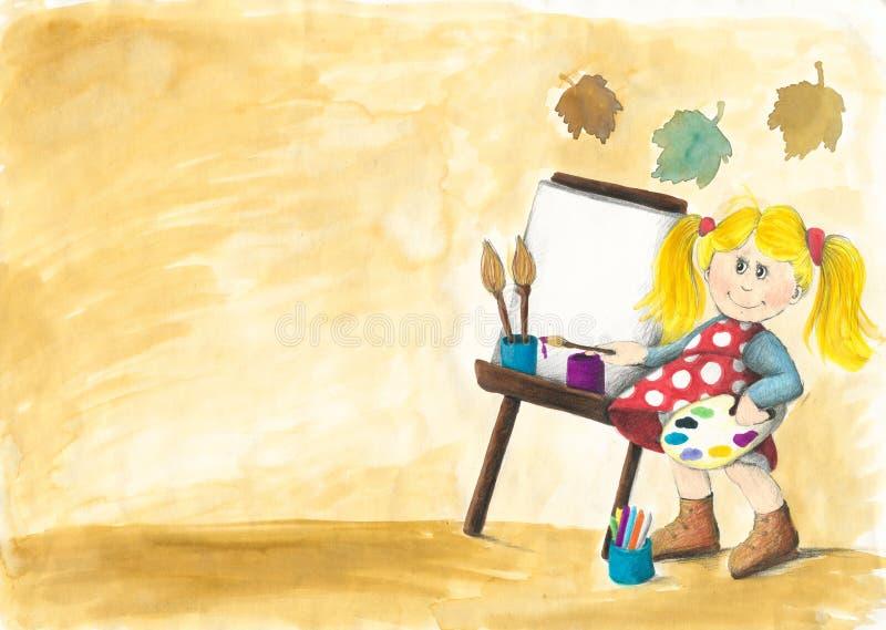 女孩少许绘画 库存例证