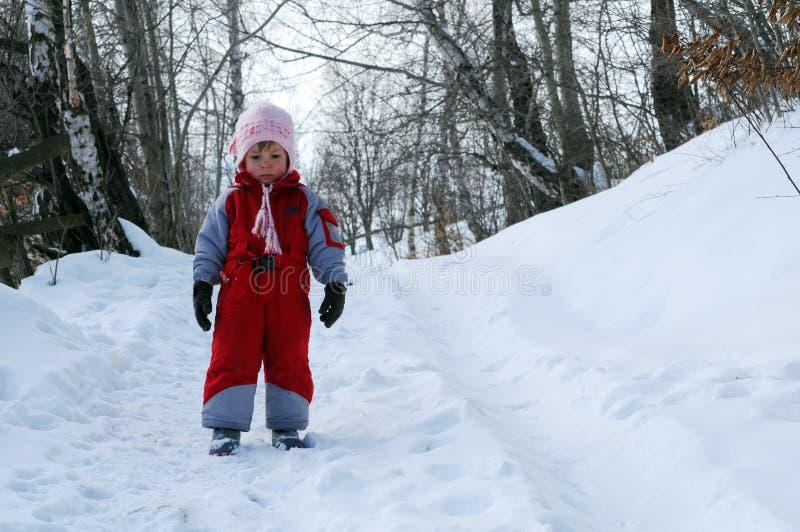 女孩少许雪 免版税库存照片