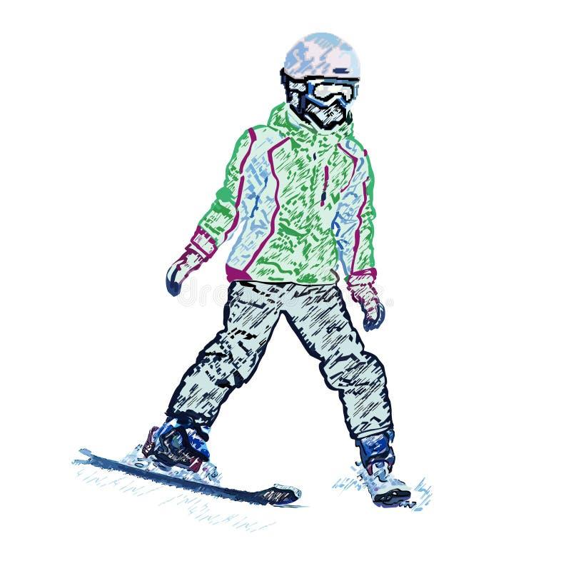 女孩山滑雪者,一支色的铅笔 库存例证