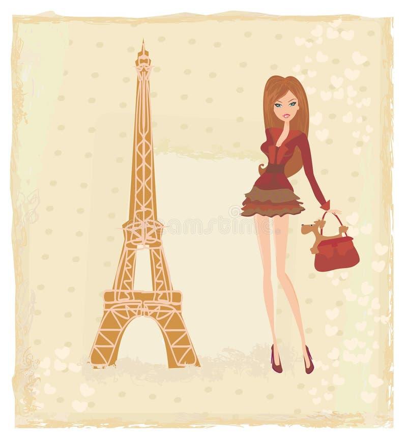 女孩巴黎购物 库存例证